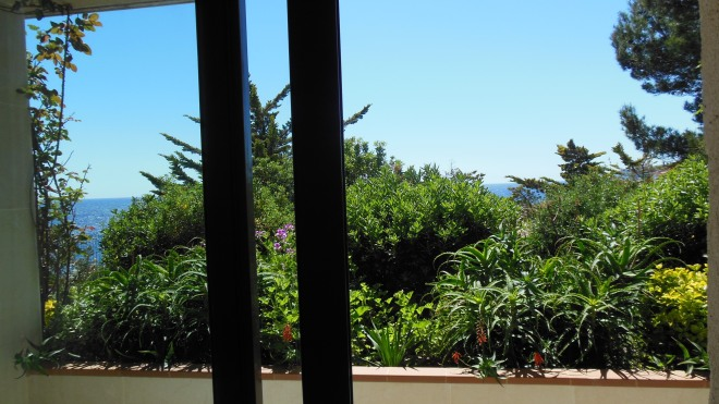The view from our room out the balcony across the Mediterranean Sea.