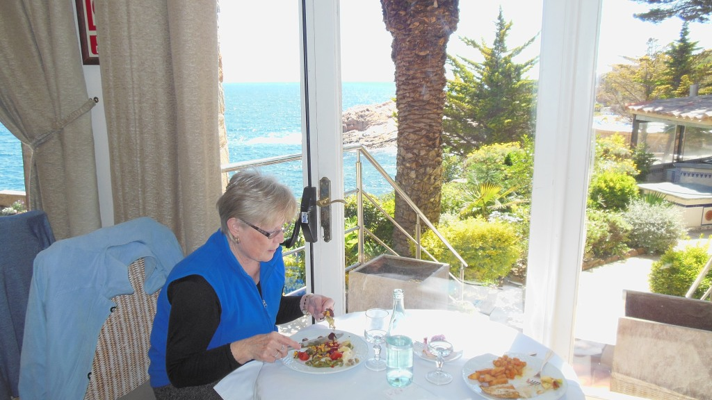 Lunch with a beautiful view of the Mediterranean.