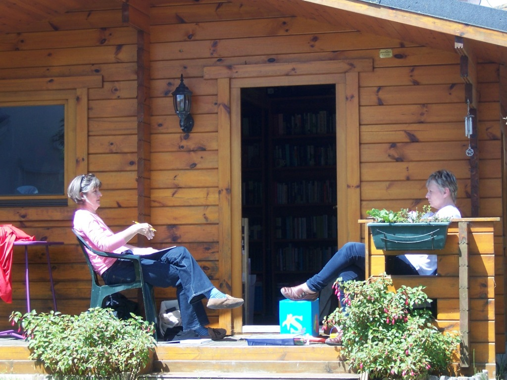 Ann and Sharon found a nice spot to work on final preparations for their evening workshop on engaging children and youth in learning the Bible.