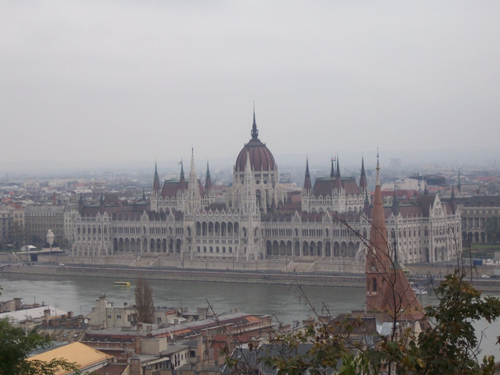 Hungarian Parliament Building from the Castle District across the Danube River.