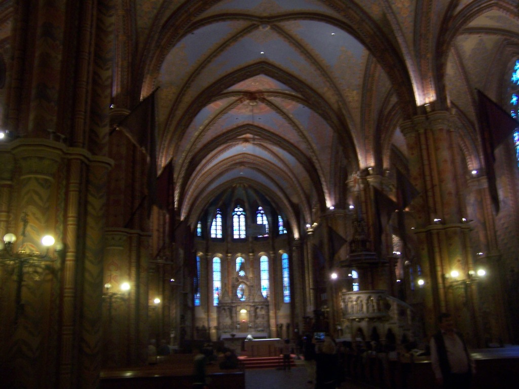 Beautiful interior of historic St Matthias Church in the Castle District.